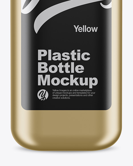 Metallic Square Bottle Mockup - Front View