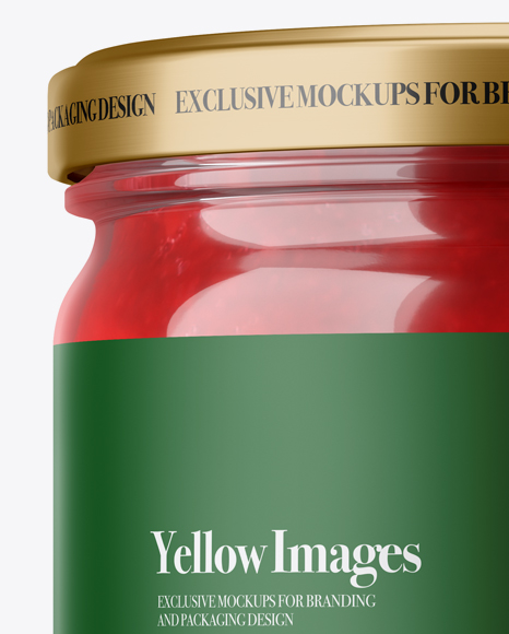 Clear Jar with Red Jam Mockup