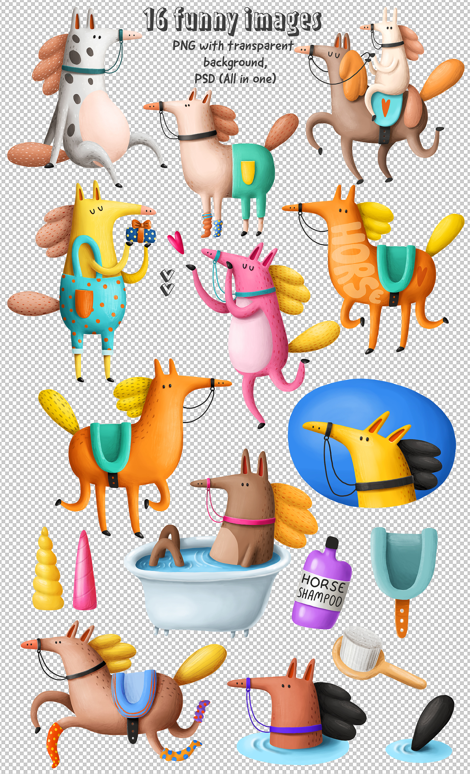 Collection of Cartoon Horses
