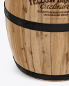 Wooden Barrel Mockup - Front View (High-Angle Shot)
