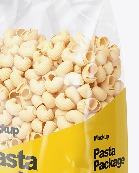 Pipe Doppia Rigatura Pasta Mockup - Half Side View