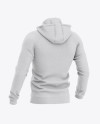 Men's Heather Hoodie Mockup - Back Half Side View