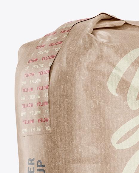 1 kg Kraft Paper Bag Mockup - Halfside View