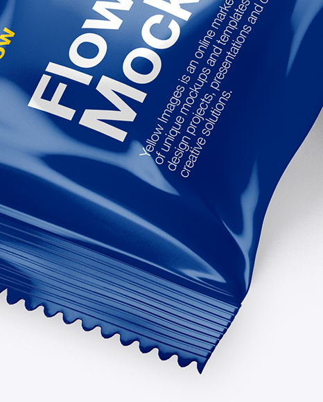 Glossy Flow Pack Mockup - Halfside View (High-Angle Shot)