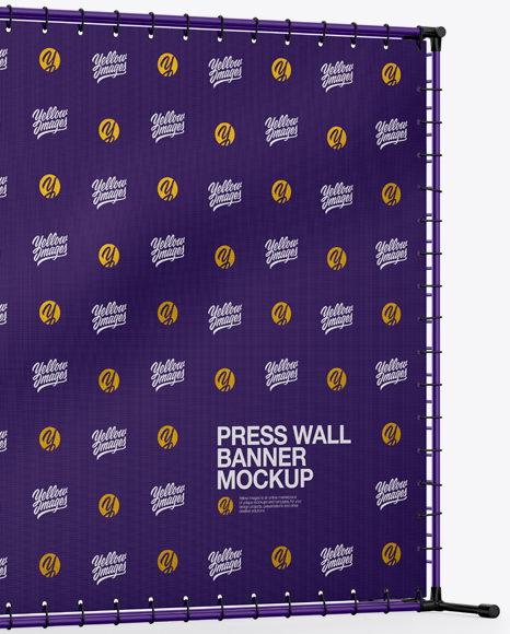 Press Wall Banner with Matte Frame Mockup - Halfside View