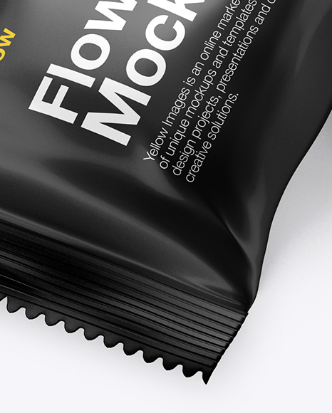 Matte Flow Pack Mockup - Halfside View (High-Angle Shot)