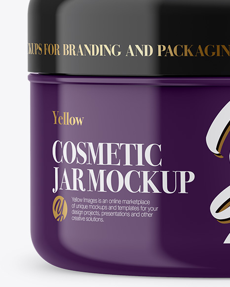 Glossy Plastic Cosmetic Jar Mockup - Front View