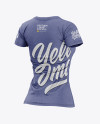 Women's Heather Slim-Fit T-Shirt Mockup - Back Half-Side View