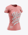 Women's Heather Slim-Fit T-Shirt Mockup - Front Half-Side View