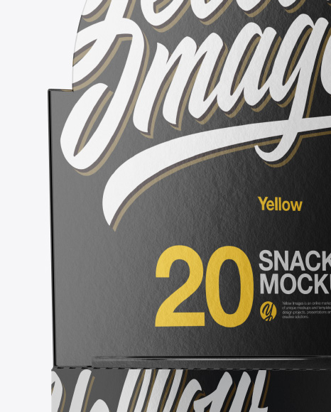 20 Metallic Snack Bars Box Mockup - Half Side View