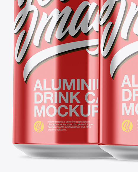 Pack with 3 Metallic Cans with Plastic Holder Mockup - Front View