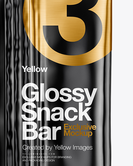 Glossy Snack Bar Mockup - Back View