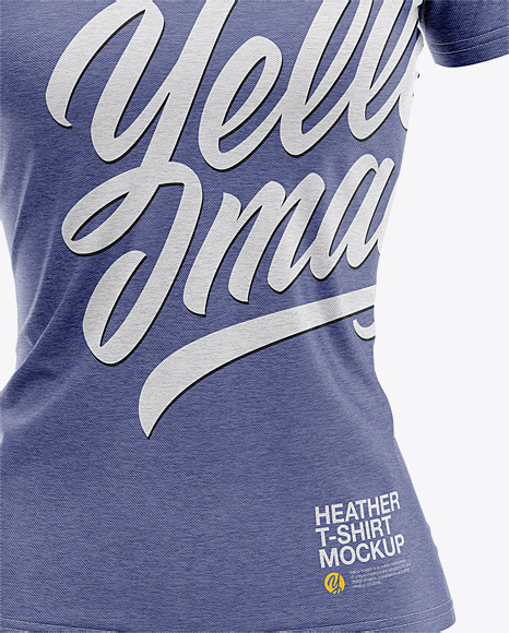 Women's Heather Slim-Fit V-Neck T-Shirt Mockup - Front View