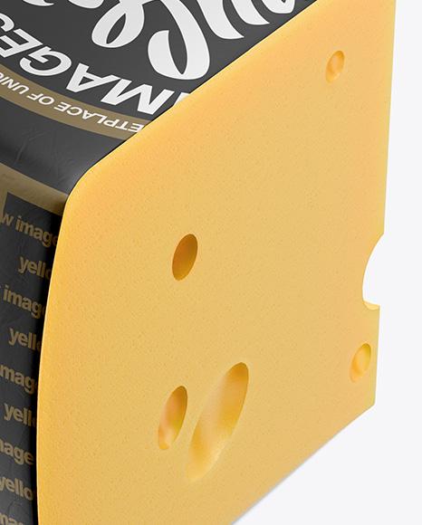 Piece of Cheese Wheel Mockup - Half Side View (High Angle Shot)