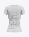 Women's Heather Slim-Fit V-Neck T-Shirt Mockup - Back View