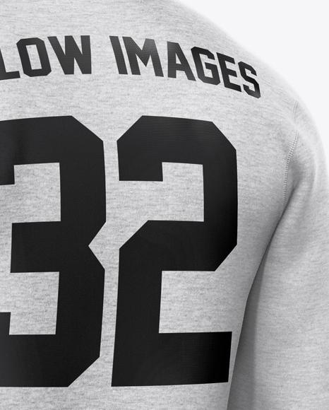 Melange Men's Full-Zip Hoodie Mockup - Back Half Side View