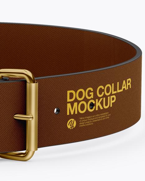 Linen Dog Collar Mockup - Front View (High-Angle Shot)