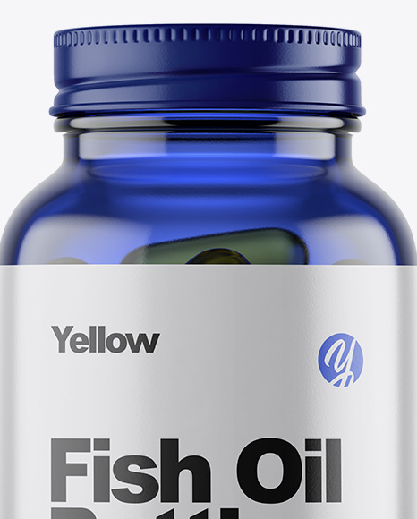 Blue Glass Fish Oil Bottle Mockup