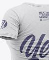 Women's Heather Slim-Fit V-Neck T-Shirt Mockup - Back Half-Side View