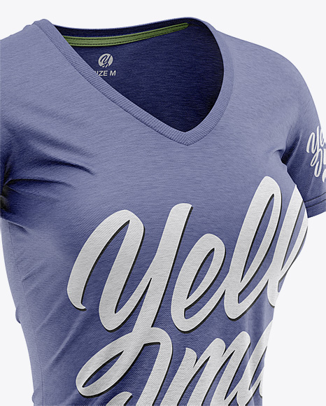 Women's Heather Slim-Fit V-Neck T-Shirt Mockup - Front Half-Side View