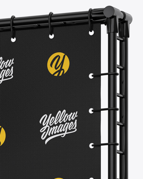 Press Wall Banner with Glossy Frame Mockup - Halfside View