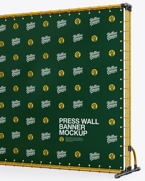 Press Wall Banner with Metallic Frame Mockup - Halfside View