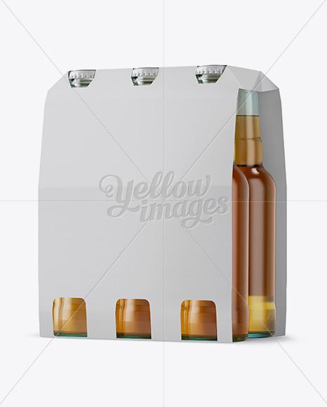 White Paper 6 Pack Beer Bottle Carrier Mockup Halfside View In