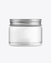 Clear Glass Cosmetic Jar with Metallic Cap Mockup - Front View