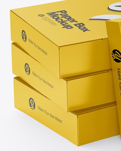 4 Matte Boxes Mockup