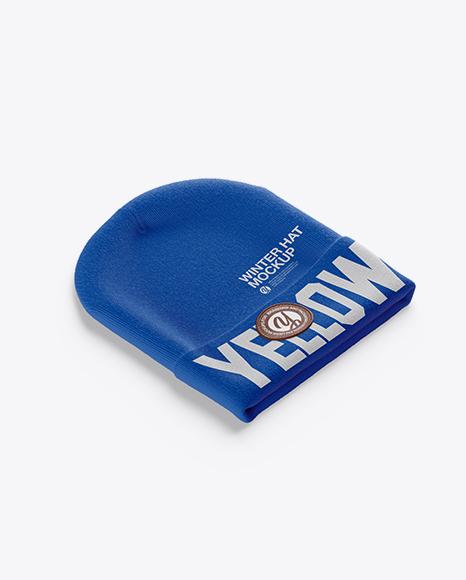 Beanie Hat Mockup - Half Side View (High-Angle Shot)