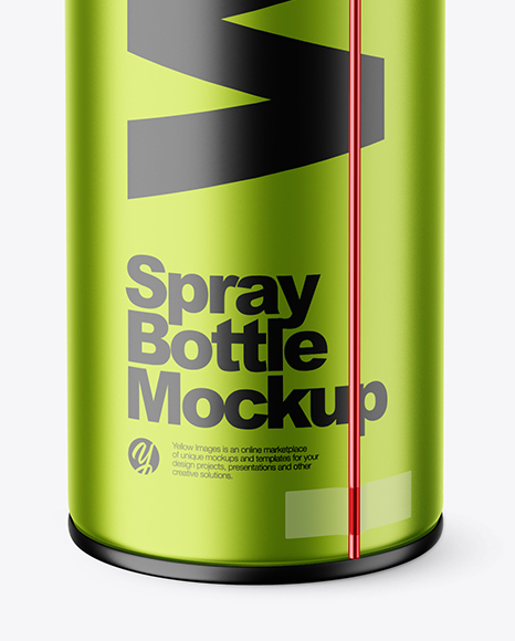 Opened Matte Metallic Spray Bottle Mockup