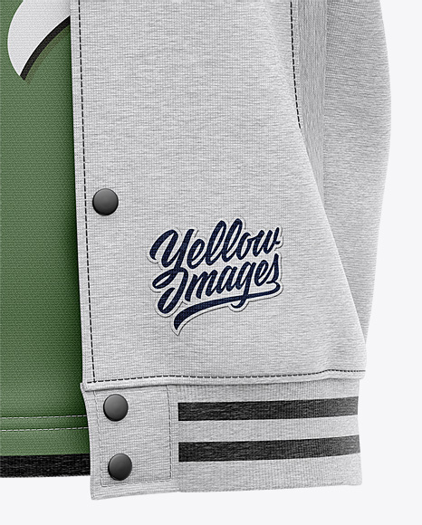 Open Heather Varsity Jacket Mockup - Front View - Baseball Bomber Jacket and T-shirt