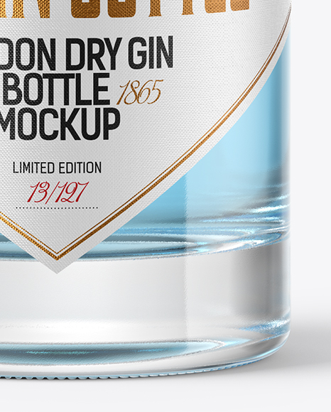 Clear Glass Gin Bottle with Wooden Cap & Wax Mockup