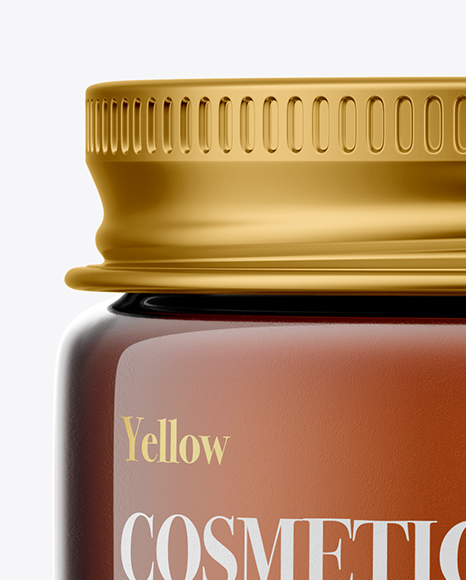 Amber Glass Cosmetic Jar with Metallic Cap Mockup - Front View
