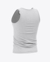 Men's Heather Jersey Tank Top Mockup - Back Half Side View