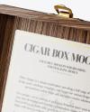 Opened Wooden Cigar Box Mockup - Half Side View (High Angle Shot)
