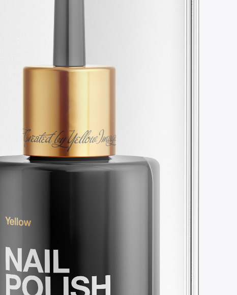 Nail Polish Bottle in Transparent Box Mockup - Front View