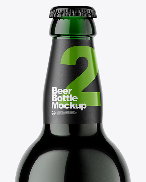 Green Glass Bottle With Dark Beer Mockup
