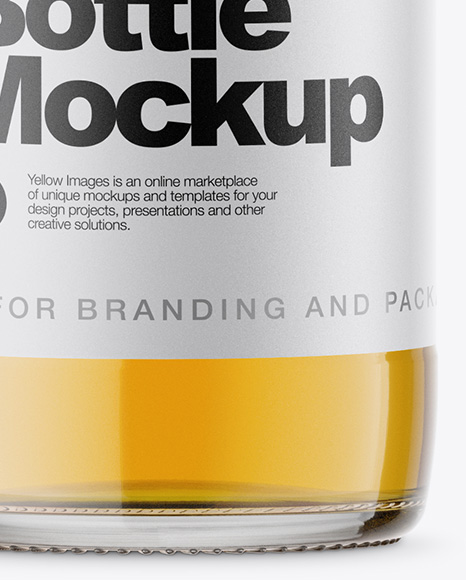 Clear Glass Bottle With Lager Beer Mockup