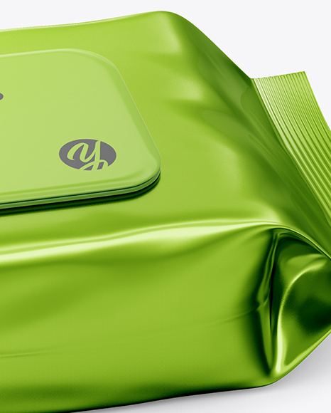 Metallic Wet Wipes Pack W/ Plastic Cap Mockup - Half SIde View (High Angle Shot)