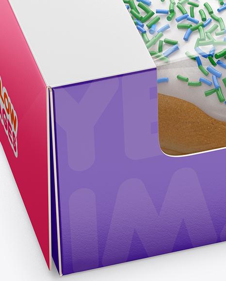Box W Boston Donut Mockup Half Side View High Angle Shot In