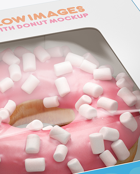 Box W Donut Mockup Half Side View High Angle Shot In Box