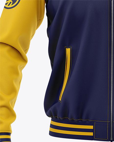 Men's Zipped Bomber Jacket Mockup - Front View - Baseball Jacket
