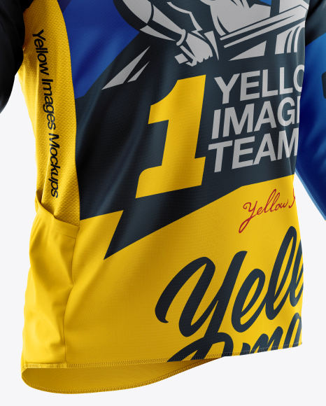 Download Mens Cycling Jersey With Long Sleeve Mockup Half Side View Yellowimages