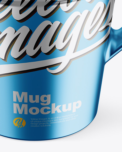 Matte Metallic Mug w/ Cap Mockup - Front View (High-Angle Shot)
