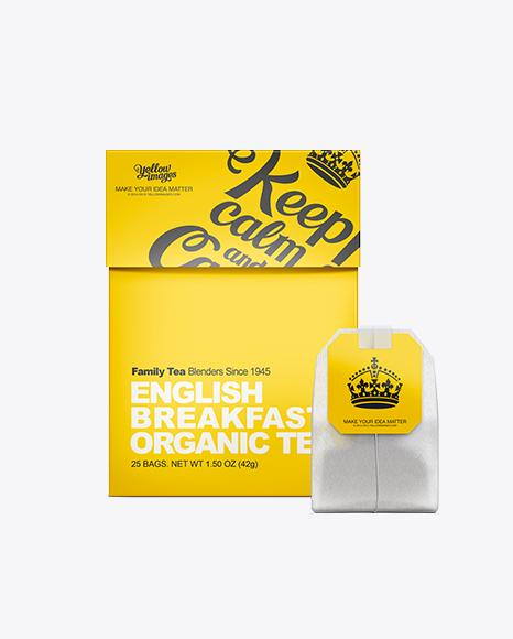 Tea Box With Tea Bag Mockup