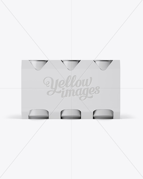 White Paper 6 Pack 0.33L Cans Carrier Mockup - Front View (Eye-Level Shot)