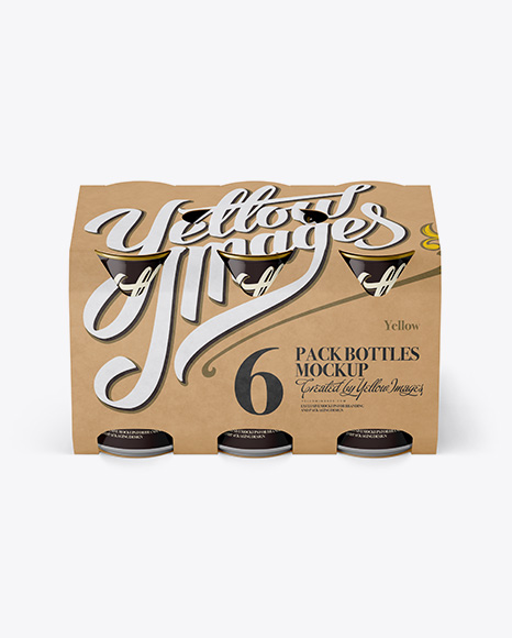 Carton 6 Pack 0.33L Cans Carrier Mockup - Front View (High-Angle Shot)