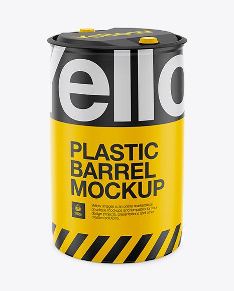 250L Plastic Barrel Mockup - Halfside View