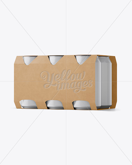 Carton 6 Pack 0.33L Cans Carrier Mockup - Halfside View